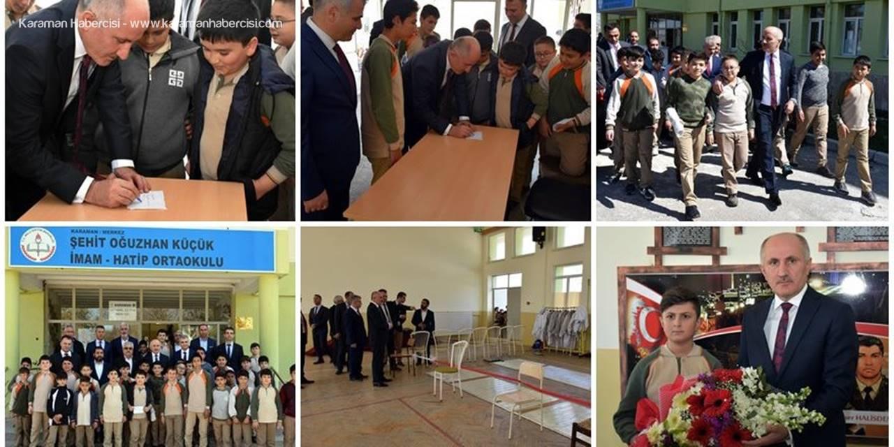 Karaman Valisi Fahri Meral'den Şehit Oğuzhan Küçük İmam Hatip Ortaokuluna Ziyaret