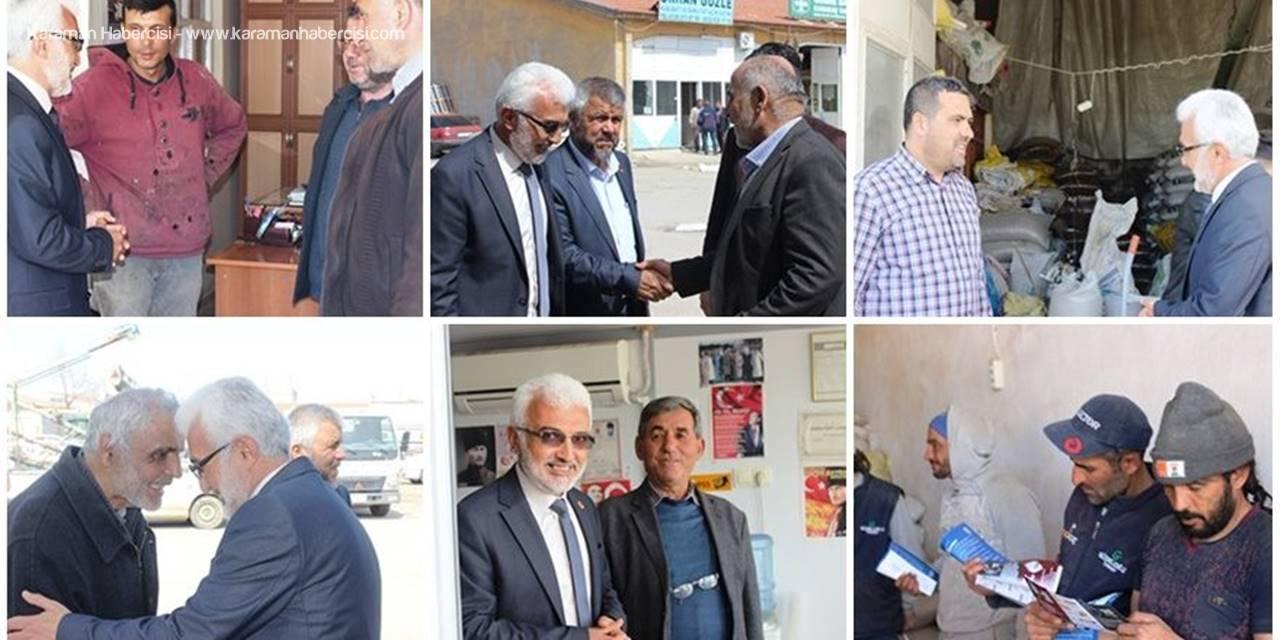 Saadet Partisi Belediye Başkan Adayı Şaban Şahin, Buğday Pazarı Esnafını Ziyaret Etti.