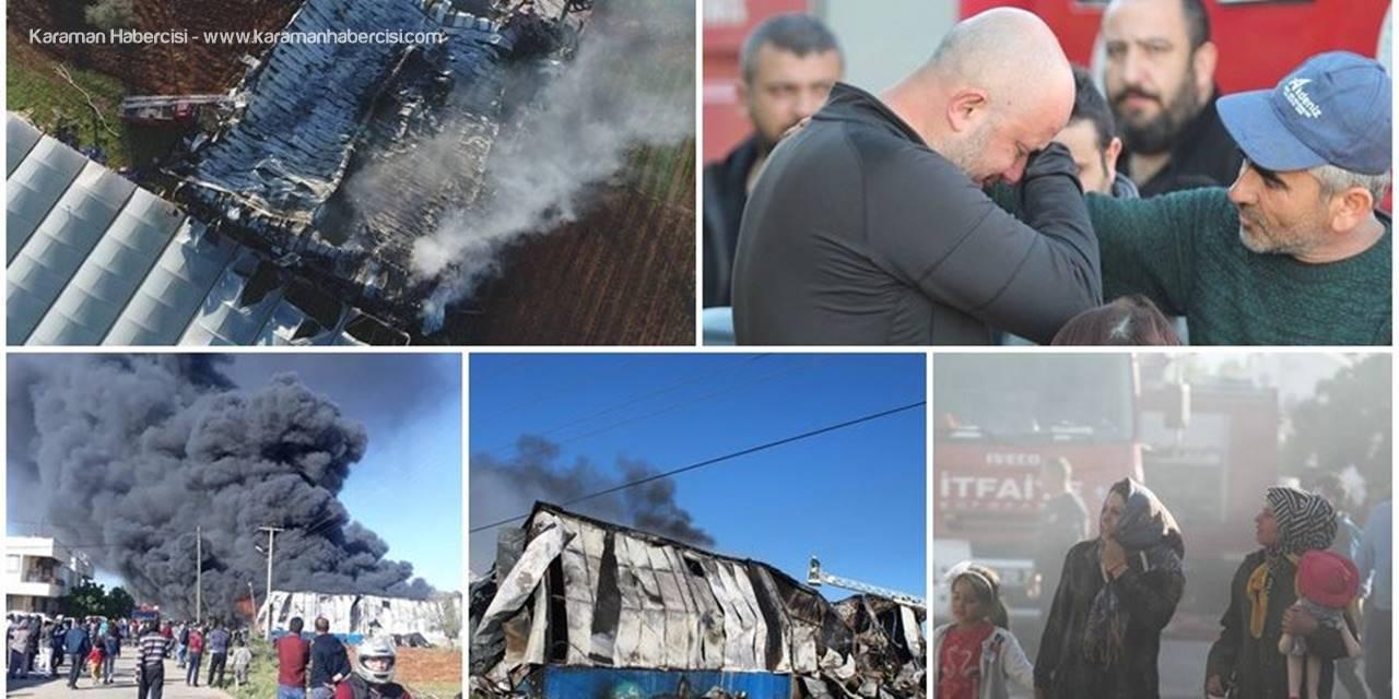 Antalya'da Fabrikada Yangın Çıktı, Sahibi Gözyaşlarını Tutamadı