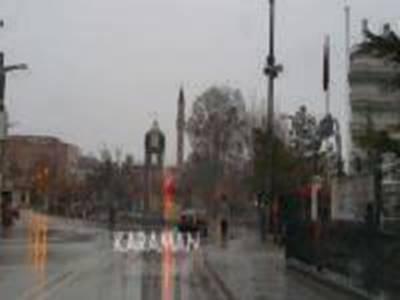Karaman'da Karla Karışık Yağmurlu Bir Cuma Sabahı