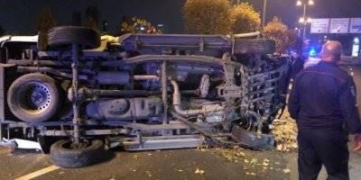 Başkent'te Refüje Çarpan Araç Karşı Yola Uçtu: 1 Yaralı
