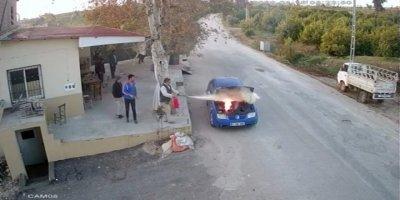Isınması İçin Çalışır Halde Bırakılan Lpg'li Otomobilde Yangın