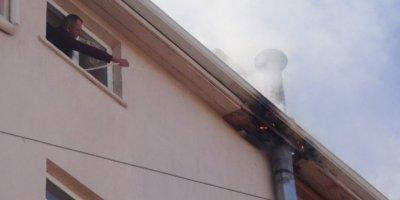 Bacadaki Yangını Hortumla Su Sıkıp Söndürmeye Çalıştı