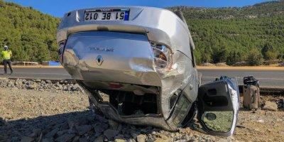 Akseki'de Otomobil Devrildi: 1 Yaralı