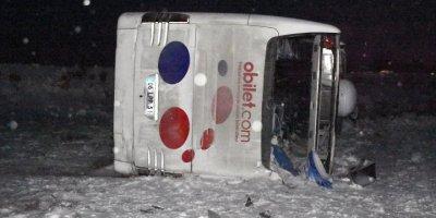 Aksaray'da Devrilen Yolcu Otobüsünde 22 Kişi Yaralandı