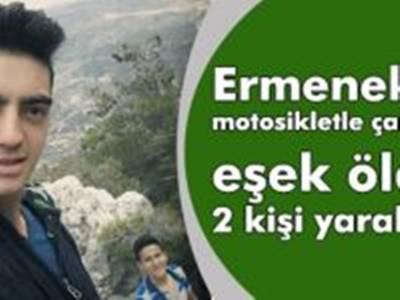 Ermenek'te motosikletle çarpışan eşek öldü: 2 kişi yaralandı