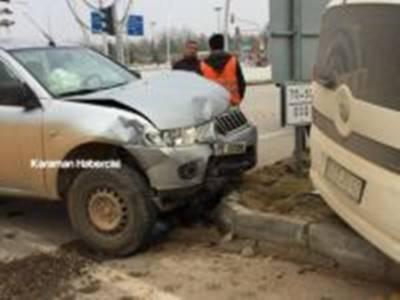 Karaman Otogar Kavşağında Trafik Kazası