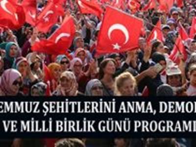 15 Temmuz Şehitlerini Anma, Demokrasi Ve Milli Birlik Günü Programı