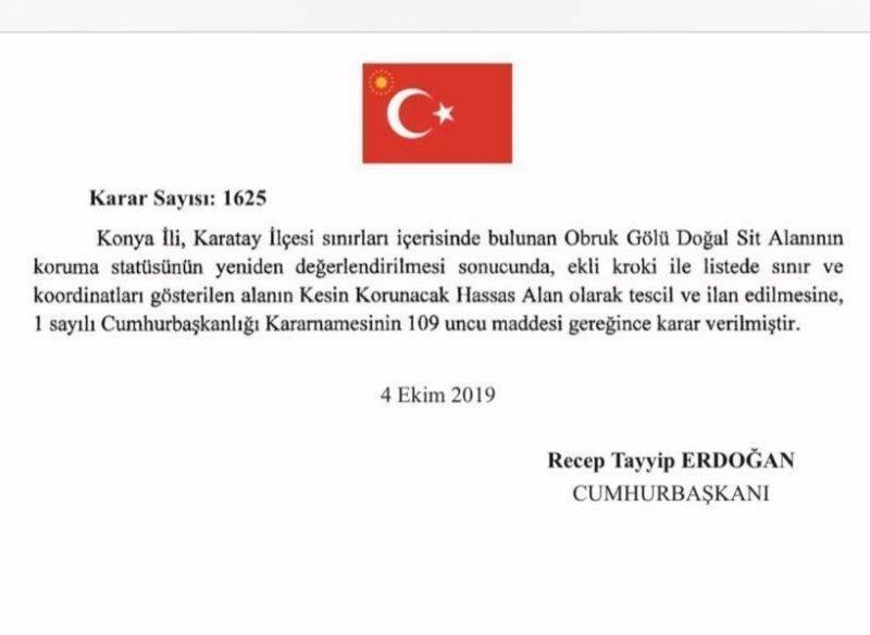 Obruk Gölü Cumhurbaşkanı Erdoğan İmzası İle Kesin Koruma Altında