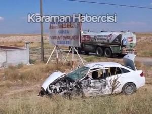 Karaman'dan Ankara'ya sanık götüren polis otosu kaza yaptı