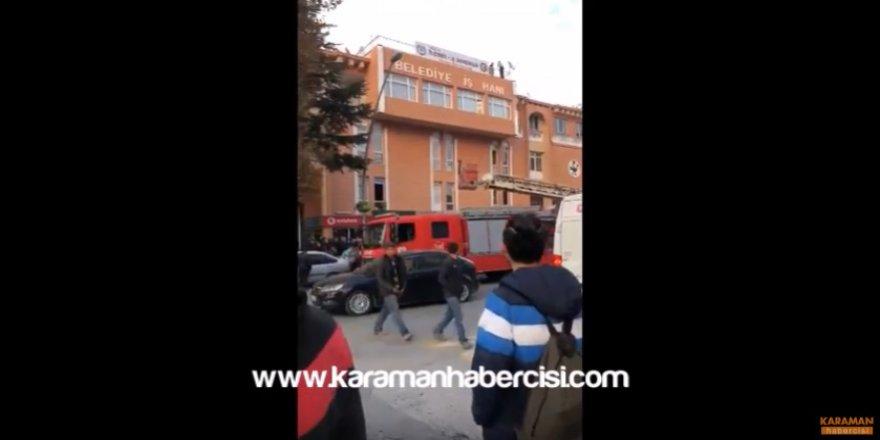 Karaman Belediye İşhanında Korku Dolu Anlar